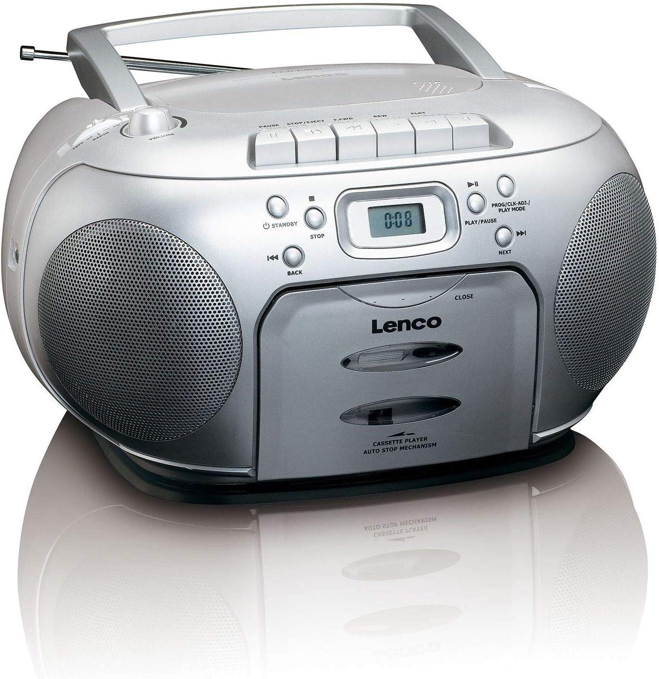 Lenco Scd 420 Silver Tragbares Ukw Radio Mit Toplader Cd Spieler Und Kassettendeck Lcd Display Wiederholungsfunktion Auto Stopp Kopfhöreranschluss Audio Hifi