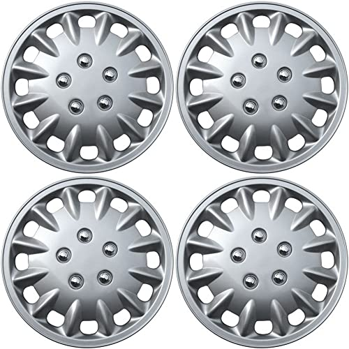 discount 15 sale inch Hubcaps Best for 2001-2002 Honda Accord - (Set of 4) Wheel Covers 15in Hub Caps Silver outlet sale Rim Cover - Car Accessories for 15 inch Wheels - Snap On Hubcap, Auto Tire Replacement Exterior Cap online sale