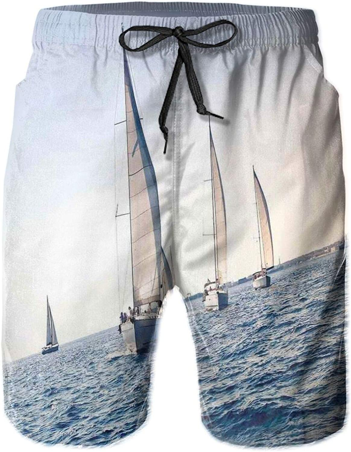 Racing Sailboats in Mediterranean Sea Adventure Winner Sports Freedom Photo Print Swimming Trunks for Men Beach Shorts Casual Style,M