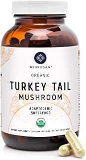 Neurogan Turkey Tail Mushroom Supplement - Natural Immune System Booster with 35+ Antioxidants and Polysaccharides, Prevents Cellular Damages - Organic, Non-GMO, Vegan, Gluten Free, 120 Count