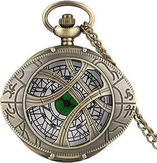 Vintage Metal Eye Pocket Watch with Chain,Hero Dr. Strange Pendant for Men Kids Boys Xmas Fathers Day Birthday Gift (Bronze)