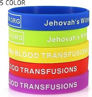 JW.org No Blood Medical Alert Flexible Silicone Wristband-5 pcs-Rainbow