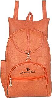 JANTA PU Leather shoulder Backpack Women's,college bag for Girls-(ORange-3252)