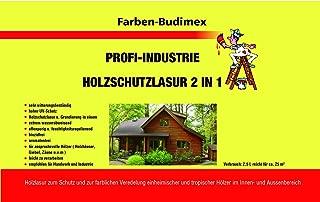 Farben-Budimex Profi Industrie Holzschutzlasur / Farbton farblos / 5 L / Holzschutzlasur 2 in 1 , Grundierung u. Lasur in einem, Speziallasur v. Holzfachhandel