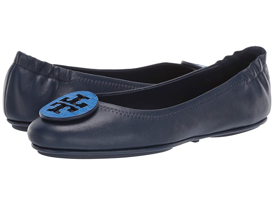 Tory Burch Minnie Travel Ballet with Logo (Royal Navy/Bright Tropical Blue) Women