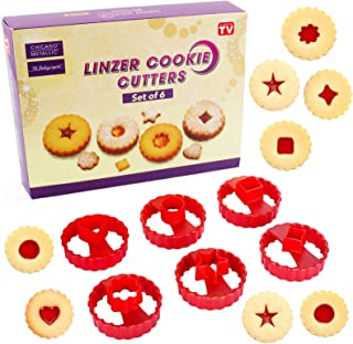 Emporte Piece Biscuit,Linzer Cookie Cutters Jeu de 6,emporte pièces Linzer,Emporte Piece Patisserie,pour cookies, glaçage,...