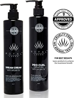 Curly Hair Products Set Curl Cream Gel Hybrid and Dream Cream by Royal Locks Infused with Argan Oil for Defined Soft Conditioned Frizz Free Curls.