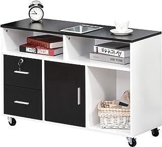 Support d'imprimante caisson placard porte avec étagère, niches, tiroirs verrouillables + grand plateau panneaux particule...
