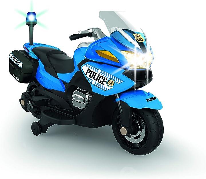 Moto della polizia per bambini azzurra con batteria 12v luci e suoni raccomandata da 3 anni in su by faber 800012891