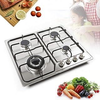 Plaque de cuisson à gaz 4 feux - Acier inoxydable gaz naturel / butane - Support de casserole en fonte - Réchaud à gaz - I...