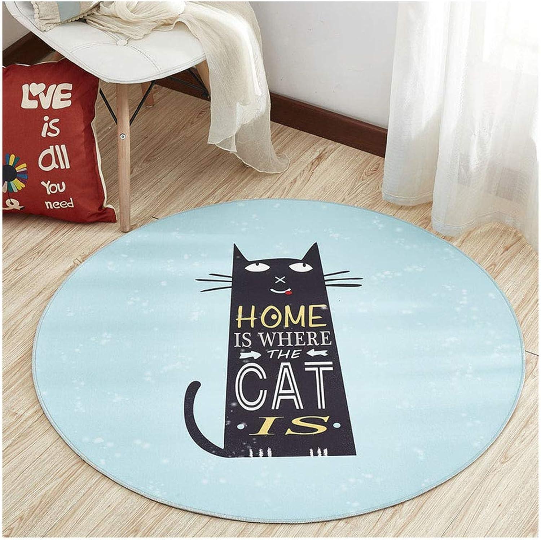 minoristas en línea SCM Alfombras Parte Inferior Azul Gato Gato Gato Negro Alfombra Habitación para nios Dormitorio Sala de Estar Estudio Porche Alfombra para el hogar Estera de Mesa de café (tamao   120cm)  venta con descuento