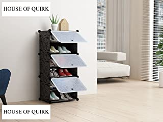 House of Quirk Portable Plastic Shoe Storage Organizer, 6 Layers, Black