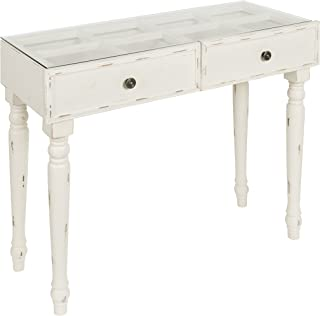Kate and Laurel Claremore Wood Console Table with Glass Top and 2 Drawers, White