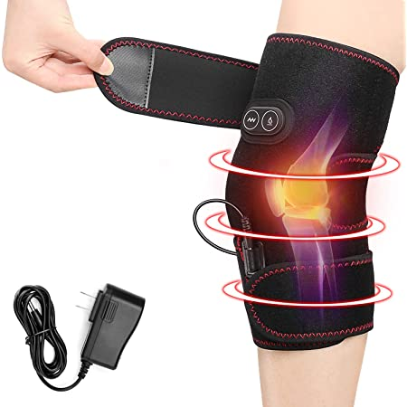 Heated Knee Brace Wrap, 3 Adjustable Heat and Vibration Knee Massager for Arthritis Knee Pain Relief Massaging Knee Pad with AC Adapter