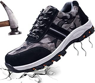 JACKSHIBO Steel Toe Shoes Men Women, Work Safety Shoes Breathable Industrial Construction Shoes Outdoor Hiking Shoes