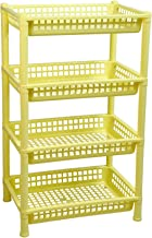 HomeStrap Logic Deluxe Multi Purpose Plastic 4 Shelf Storage Rack (Yellow, Standard Size)