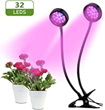 Grow Light for Indoor Plant, Dual Head 32 LED Dimmable 2 Levels Growing Lamps with Red Blue Spectrum, LED Growth Plant Lights Bulb 18W with Clip, Adjustable Gooseneck