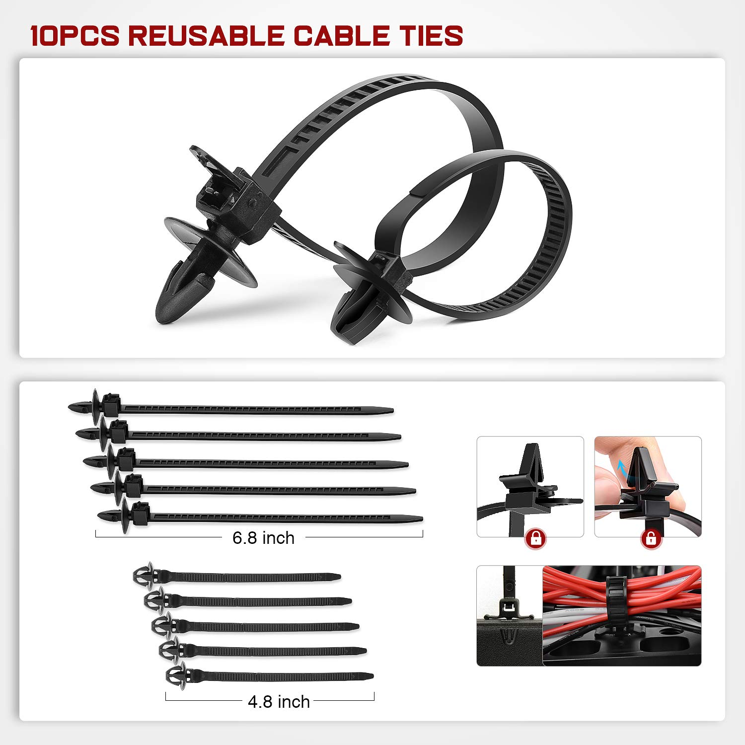 Nilight - CL-86 635Pcs Car Push Retainer Clips-16 Most Popular Sizes Nylon Bumper Fender Rivets Kit with 10 Cable Ties and Fasteners Remover for Toyota GM Ford Honda Acura Chrysler