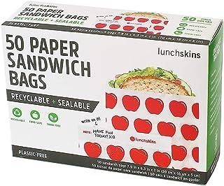 Lunchskins 100% reciclable + sellables bolsas de sándwich, Apple (caja de 50), Manzana roja, 1