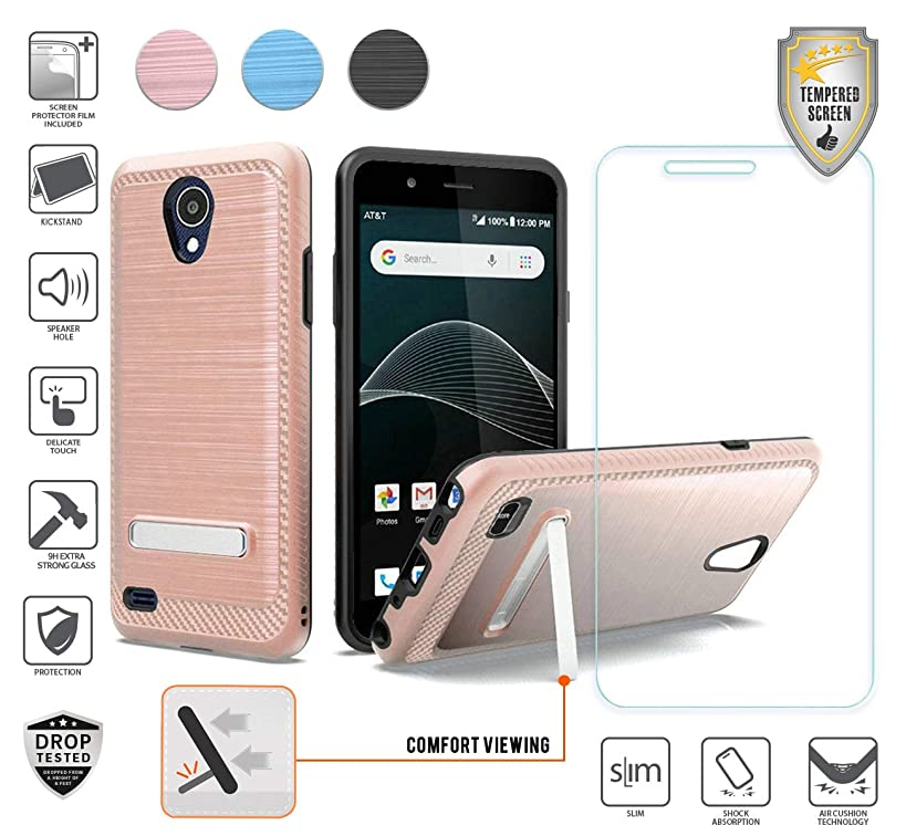 Compatible for At&t Axia QS5509a Case, Cricket Vision Case with Stand, with Tempered Glass Screen Protector, Premium Armor Shield Metallic Brushed Design Hybird [Shockproof] [Kickstand] (Rose Gold)