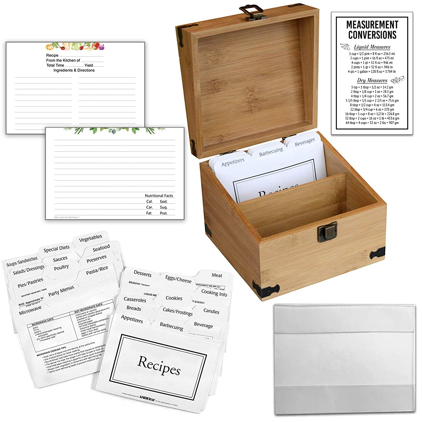 Zen Earth Ultimate Kitchen Recipe Box & Labeleze Bundle - Luxury Handcrafted Bamboo Wood Case With Card Holder Groove - 350+ 4x6