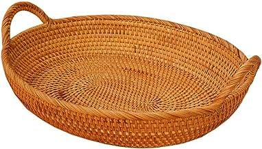 Handmade Rattan Round Tray - Tray Of Rattan Disc Fruits, Vegetables, Food, etc. Natural Rattan Basket Lzpzz