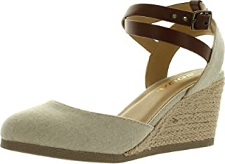 SODA Womens Request Closed Toe Espadrille Wedge Sandal in Natural Tan Linen
