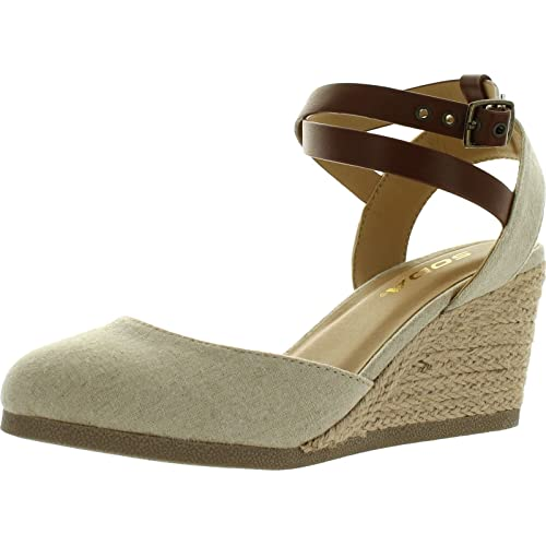9b9d8a2ffb1 SODA Womens Request Closed Toe Espadrille Wedge Sandal in Natural Tan  Linen