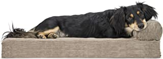 Furhaven Pet Dog Bed | Deluxe Orthopedic Faux Fleece & Corduroy Chaise Lounge Living Room Couch Pet Bed w/ Removable Cover for Dogs & Cats, Sandstone, Medium