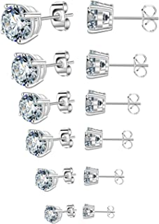 Stud Earrings for Women Round Cubic Zirconia Stainless Steel Earrings Studs Plated White Gold, 3-8mm (6 Pairs)