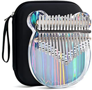 Beveetio Clear Kalimba Thumb Piano With Eva Protective Case, Transparent Crystal Kalimba 17 Key, Musical Instrument Gifts ...