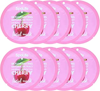 Spa Life Rejuvenating Cherry Natural Extract Facial Mask 10 Count