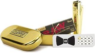 RAW Black 1 1/4 Natural Unrefined Rolling Paper, Clipper Full Metal Lighter (Gold), Hippie Butler Grinder Card - 3 Item Bundle