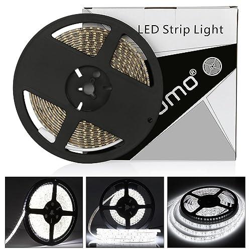 Ruban LED Blanc Froid, 600LEDs, bande LED imperméable à l'eau LED 5m bande LED