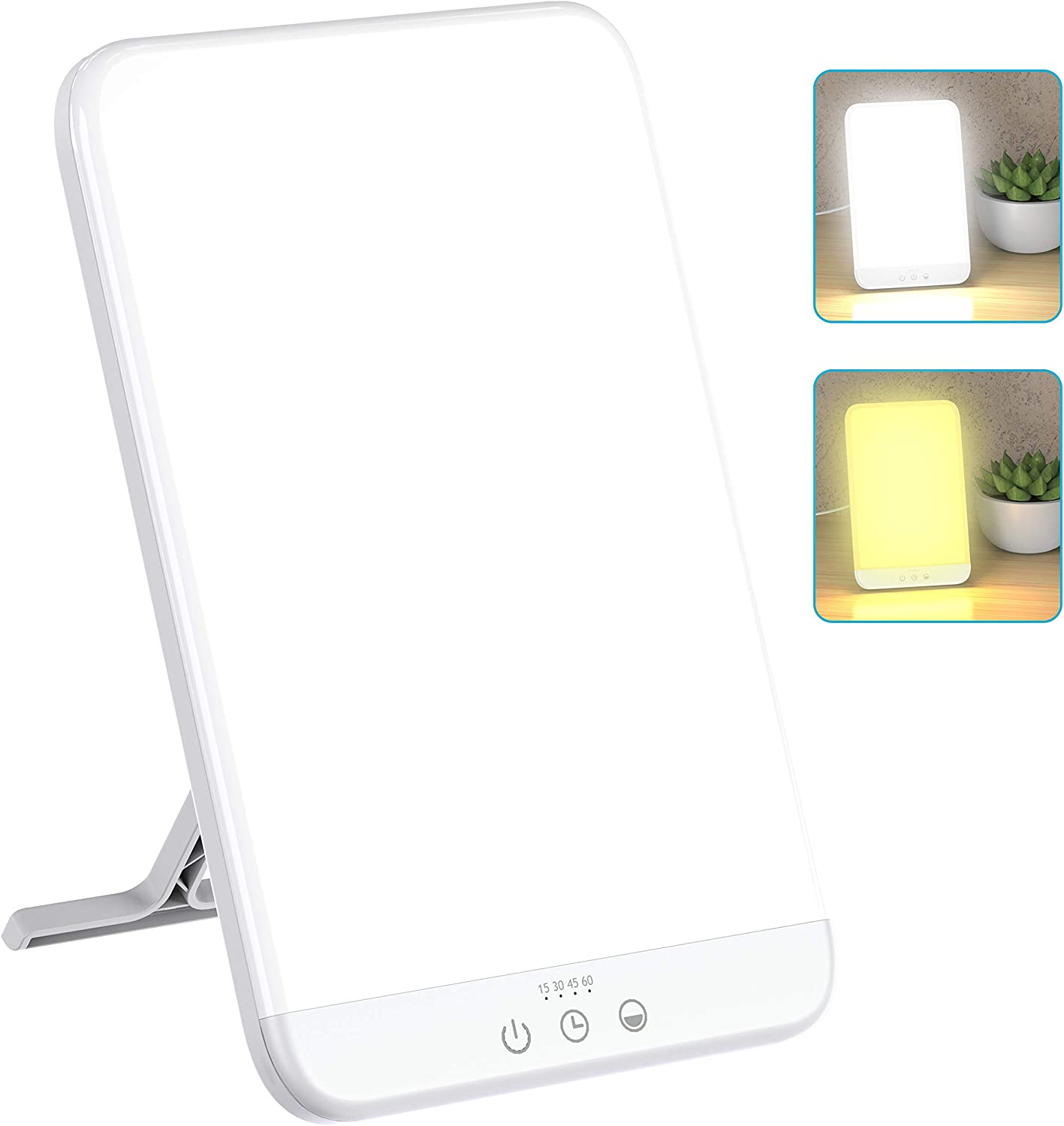 Light Therapy Lamp, Ultra-Thin UV-Free 10000 Lux Therapy Light, Timer Function, Adjustable Brightness Levels, Two Color Temperature, 90° Rotatable Stand for a Happy Life: Health & Personal Care