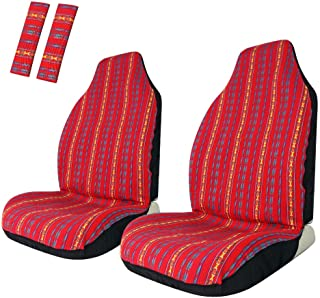 Copap Baja Front Seat Covers Stripe Colorful Saddle Blanket Seat Cover Universal for Car, SUV & Truck (2 seat Covers+2 seat Belt Covers)