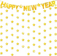 Gold Happy New Year Glitter Banner Glittery Twinkle Stars Banner for New Years Eve Holiday Christmas Party Decoration Supplies (Style A)