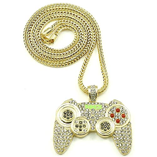 17Rainbow Rock Rapper Hip Hop Necklace Gamepad Pendant CZ Iced Out Bling  Bling Crystal Punk Jewelry 7a0ba279ed
