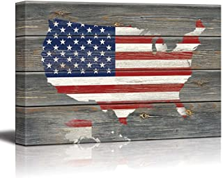 wall26 - American Flag Over a Map of The United States of America Overlay on Wood Panels - Nature - Canvas Art Home Decor - 24x36 inches