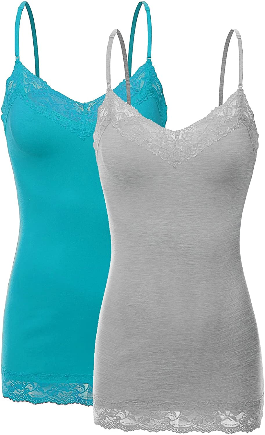 XT1004L Pack Ladies Adjustable Spaghetti Strap Lace Trim Cami Tank Top 2Pack-HE.Gry/Teal XL