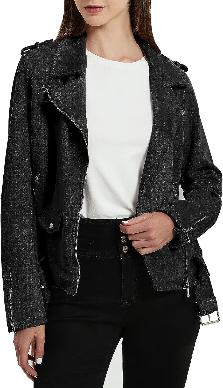 XULIKU Women's Suede Leather Jacket Zipper Slim Fit Moto Biker Lapel Short Faux Leather Coat for Fall Winter Spring