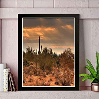 22yiihannz Modern Wall Painting - Dramatic Shady Desert View with a Storm Cloud Approaching Western Arizona - Art Picture Frame, Professional Print, Unique Home Decoration -18x14inch