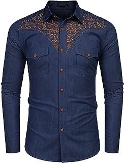 JINIDU Men's African Dashiki Shirt Metallic Floral Printed Tops Blouse
