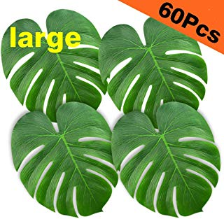 "KUUQA 60 Pcs Large 13"" Tropical Leaves Artificial Green Monstera Leaves Palm Leaf for Luau Party Hawaiian Aloha Tiki Theme Safari Jungle BBQ Birthday Party Decoration Supplies"