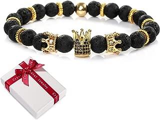 cadeaux de bijoux hommes femmes 8mm bracelets /élastiques en pierres pr/écieuses Bracelet Crown King couronnes CZ,pierre volcanique King Lava Black et zircone cubique perles en pierre naturelle