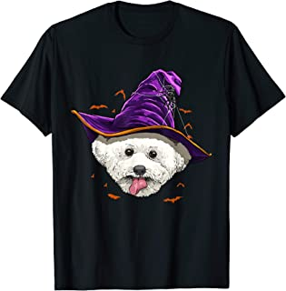 Bichon Frise Witch Hat Funny Halloween Dog Lover Gift T-Shirt