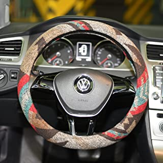 LSAUTO Universal 15inch Ethnic Style Baja Blanket Steering Wheel Cover with Coarse Flax Cloth and Sweat Absorption Anti Slip Car Wrap��SWC08