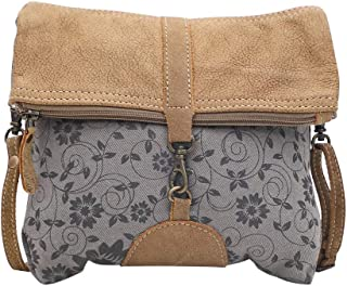 Myra Bag Teal & Tan Upcycled Leather & Leather Small Crossbody Bag S-1483