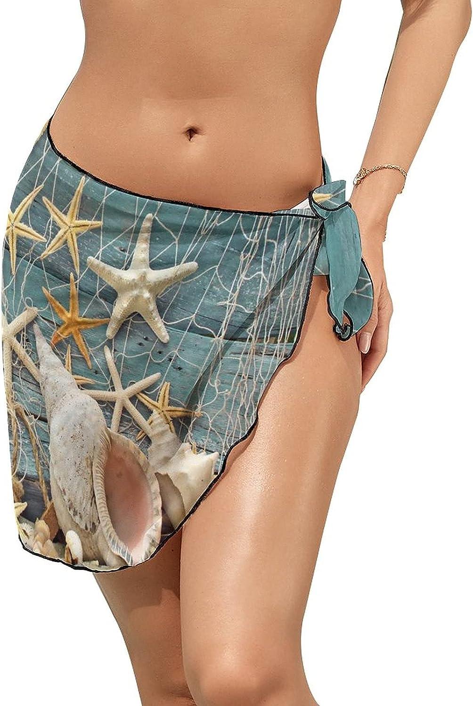 JINJUELS Women's Beach Sarongs Bikini Cover Ups Summer Sea Star Beach Sheer Swimwear Short Skirt
