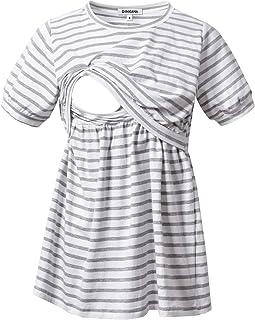 GINKANA Maternity Nursing Tops for Breastfeeding Tee Shirts Soft Double Layer Short Sleeve Pregnancy Clothes